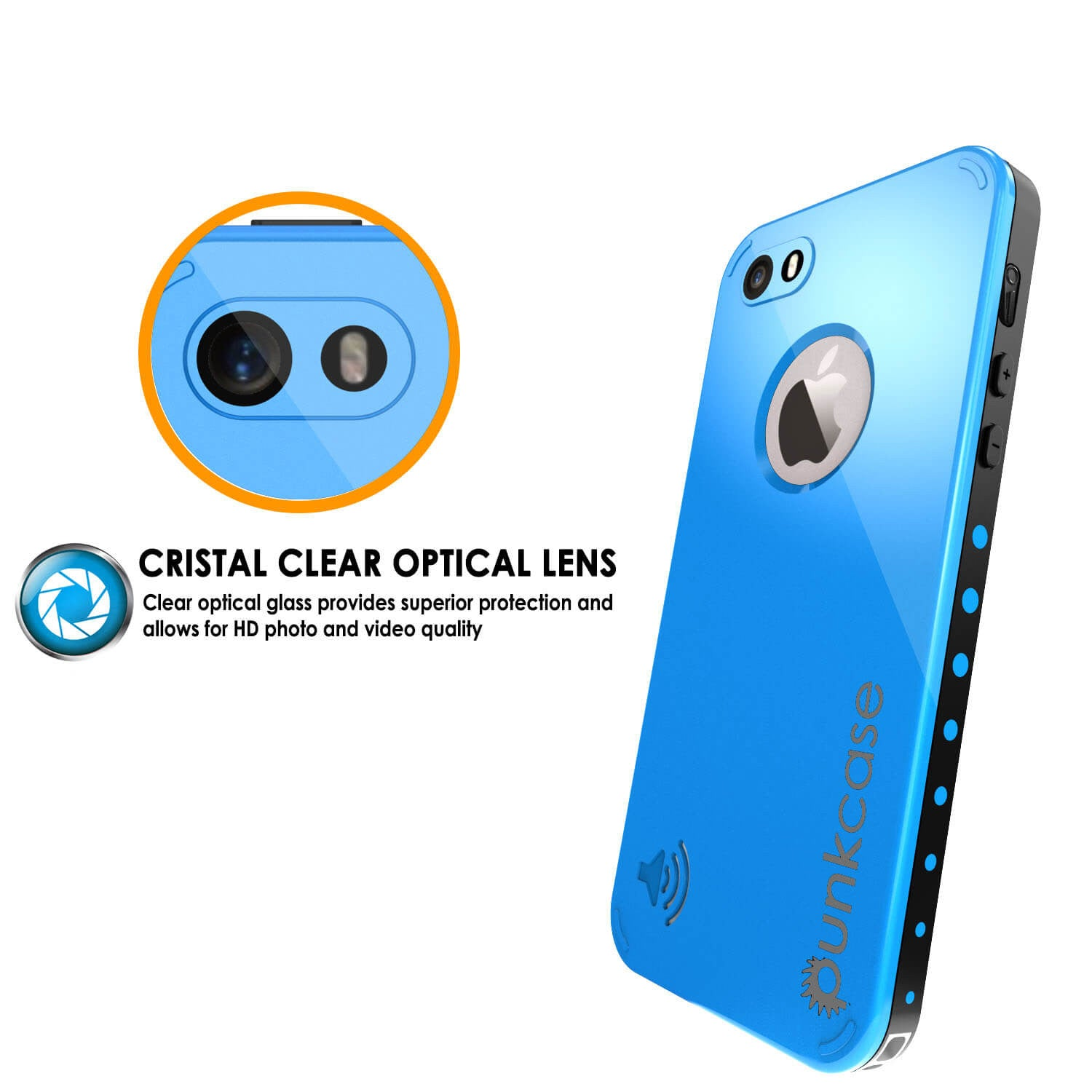 iPhone 5S/5 Waterproof Case, PunkCase StudStar Light Blue Water/Shock/Dirt Proof | Lifetime Warranty