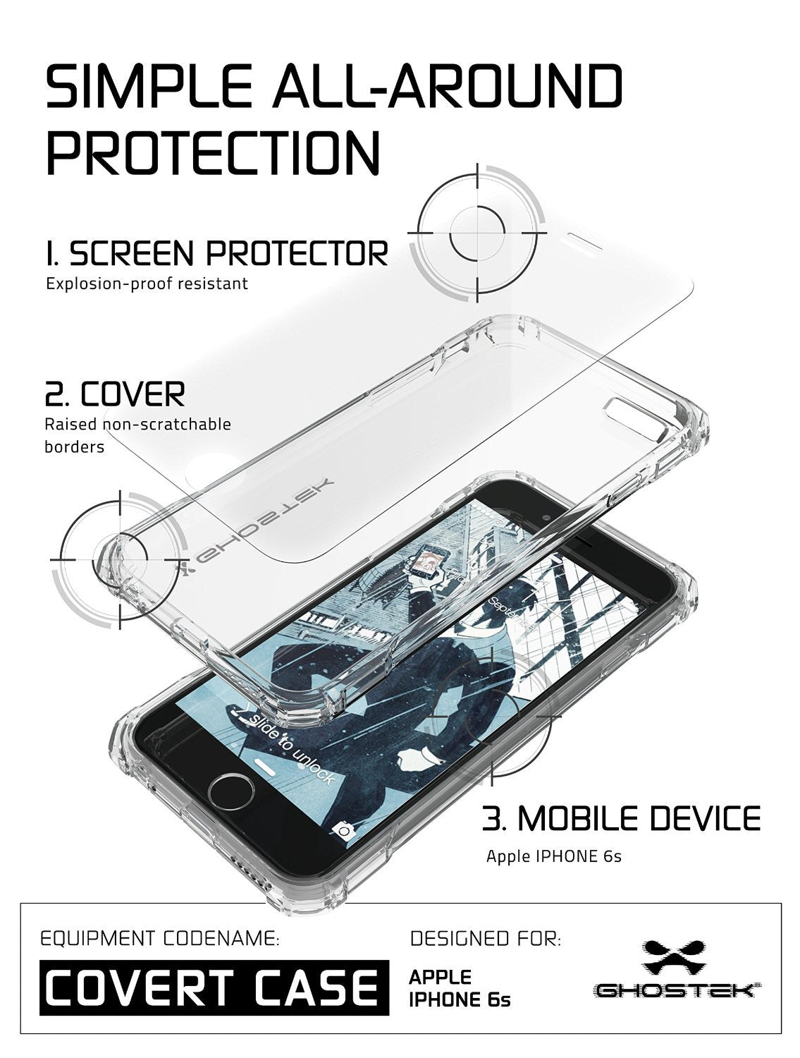 iPhone 6S Case, Ghostek® Covert Clear, Premium Impact Protective Armor | Lifetime Warranty Exchange