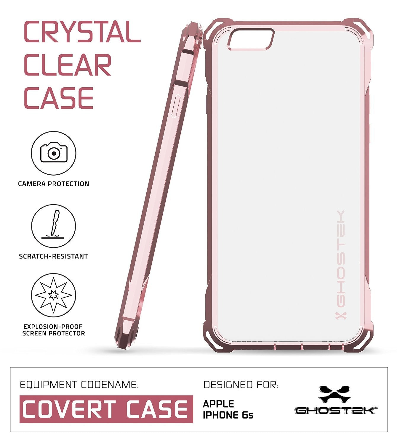 iPhone 6S Case, Ghostek® Covert Peach, Premium Impact Protective Armor | Lifetime Warranty Exchange