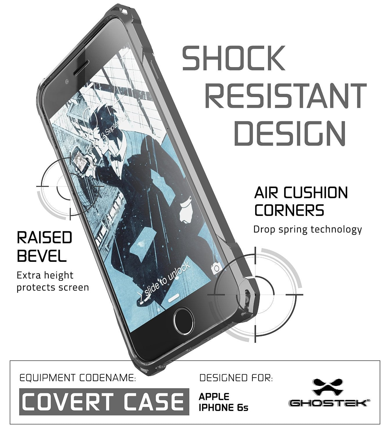 iPhone 6S Case, Ghostek® Covert Space Grey, Premium Impact Armor | Lifetime Warranty Exchange