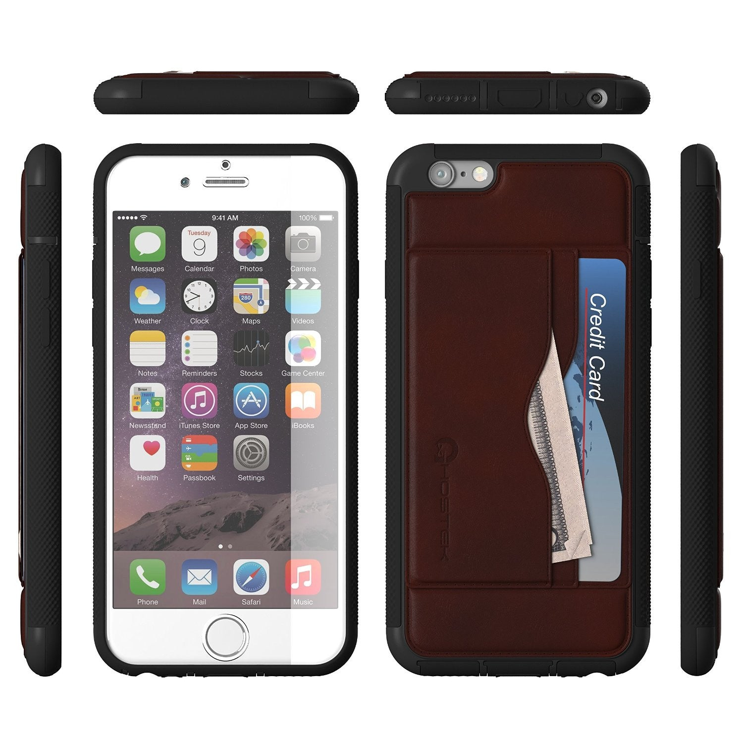 iPhone 6/6S Case, Ghostek Stash Dark Brown Wallet Case w/ Tempered Glass Protector | PU Leather