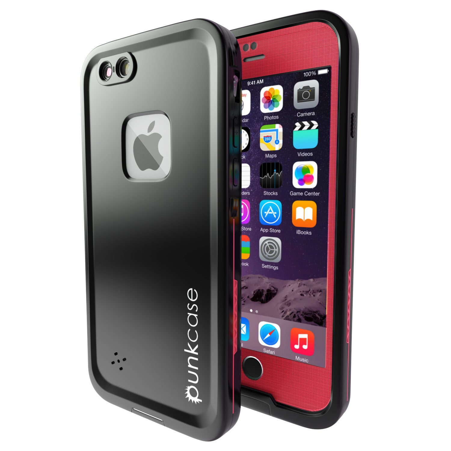 iPhone 6/6S Plus Waterproof Case, Punkcase SpikeStar Red Thin Fit 6.6ft Underwater IP68 | Warranty
