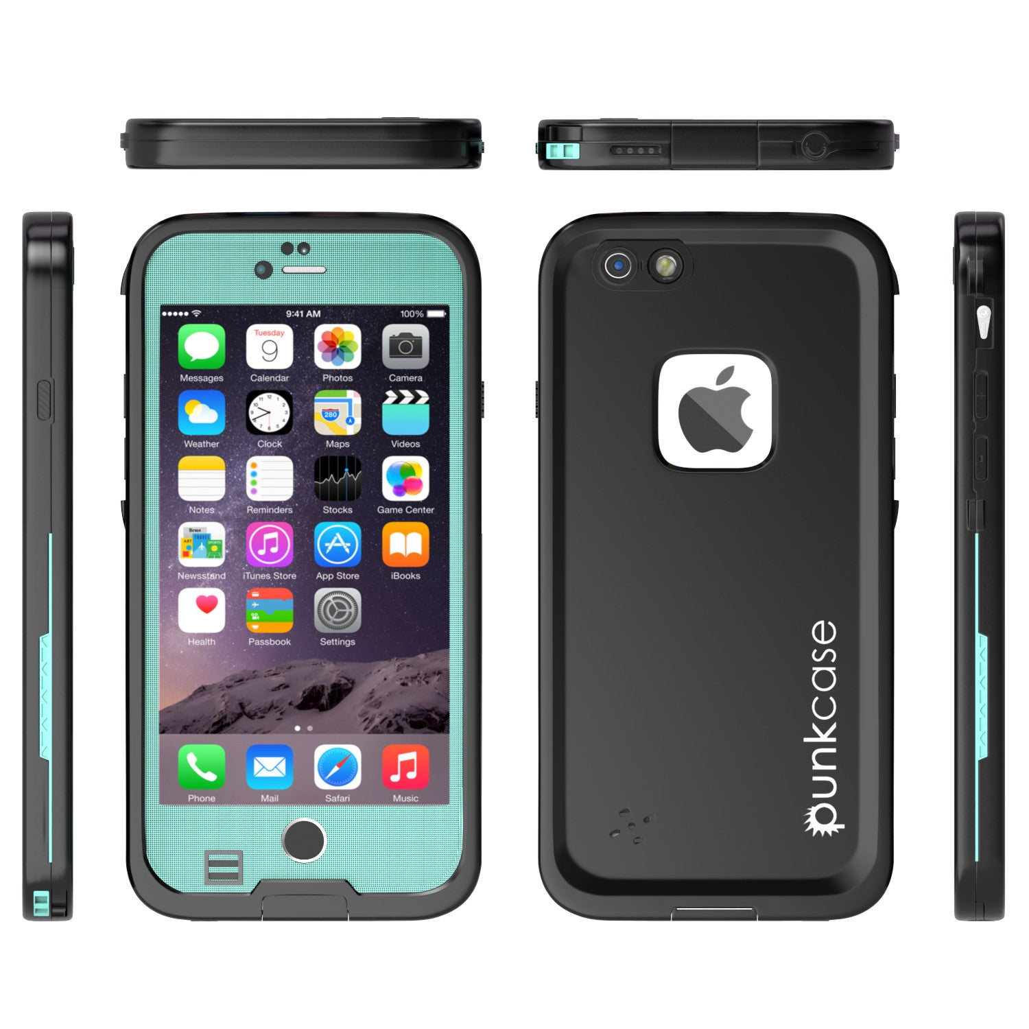 iPhone 6S+/6+ Plus Waterproof Case, Punkcase SpikeStar Teal | Thin Fit 6.6ft Underwater IP68
