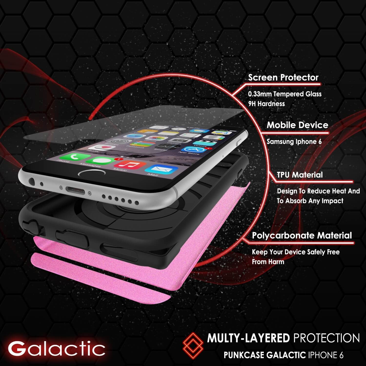 iPhone 6s Plus/6 Plus Case PunkCase Galactic Pink Slim w/ Tempered Glass Protector Lifetime Warranty