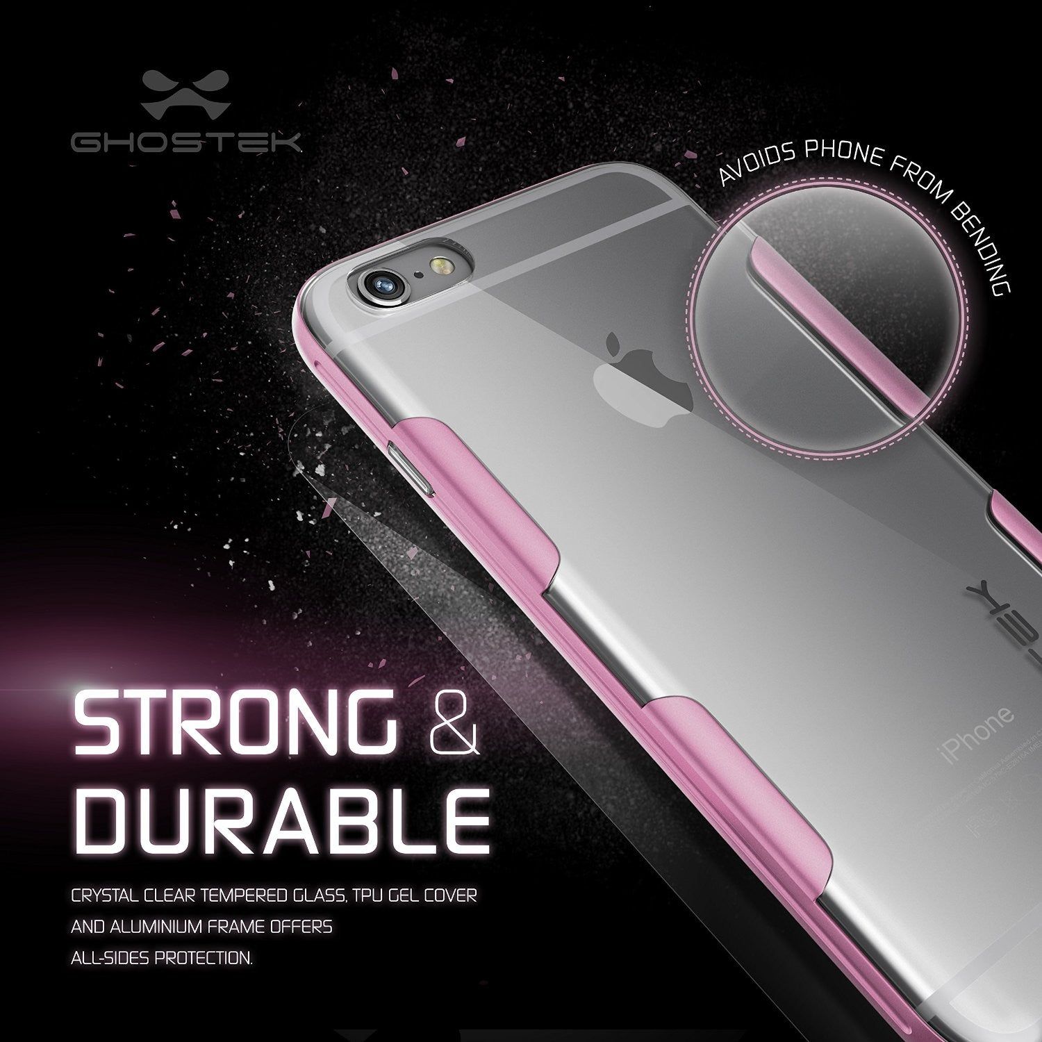 iPhone 6s Plus Case Pink Ghostek Cloak, Slim Protective Armor w/ Tempered Glass | Lifetime Warranty