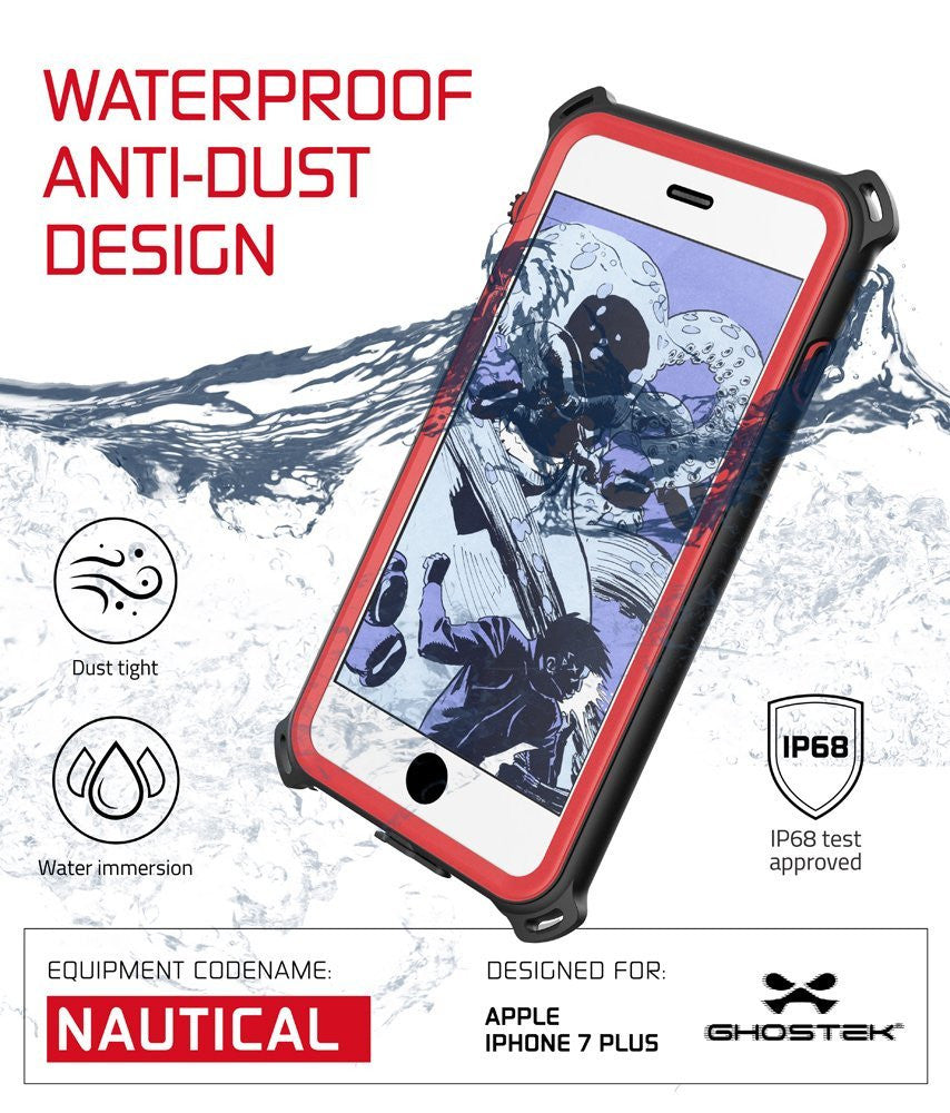 iPhone 8+/7+ Plus Waterproof Case, Ghostek Nautical Series for iPhone 8+/7+ Plus | Slim Underwater Protection | Adventure Duty | Swimming (Red)