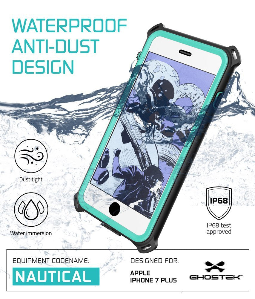 iPhone 7+ Plus Waterproof Case, Ghostek Nautical Series for iPhone 7+ Plus | Slim Underwater Protection | Adventure Duty | Swimming (Teal)