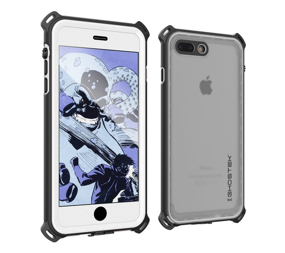 iPhone 7 Plus Waterproof Case, Ghostek Nautical Series for iPhone 7 Plus | Slim Underwater Protection | Adventure Duty | Swimming (White)