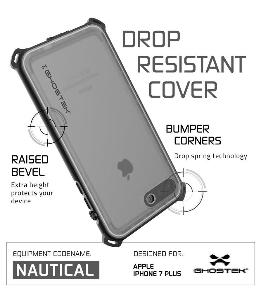 iPhone 8+ Plus Waterproof Case, Ghostek Nautical Series for iPhone 8+ Plus | Slim Underwater Protection | Adventure Duty | Swimming (White)