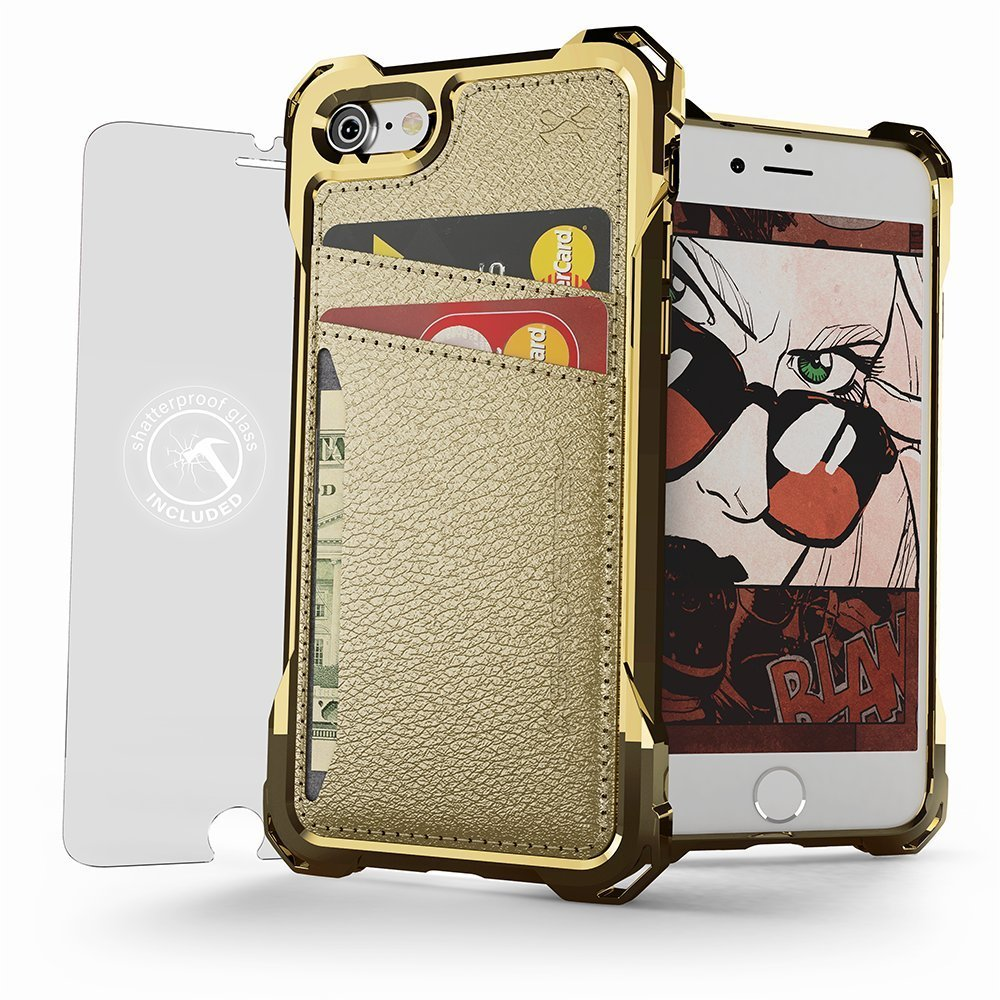 iPhone 7+ Plus Wallet Case, Ghostek Exec Gold Series | Slim Armor Hybrid Impact Bumper | TPU PU Leather Credit Card Slot Holder Sleeve Cover