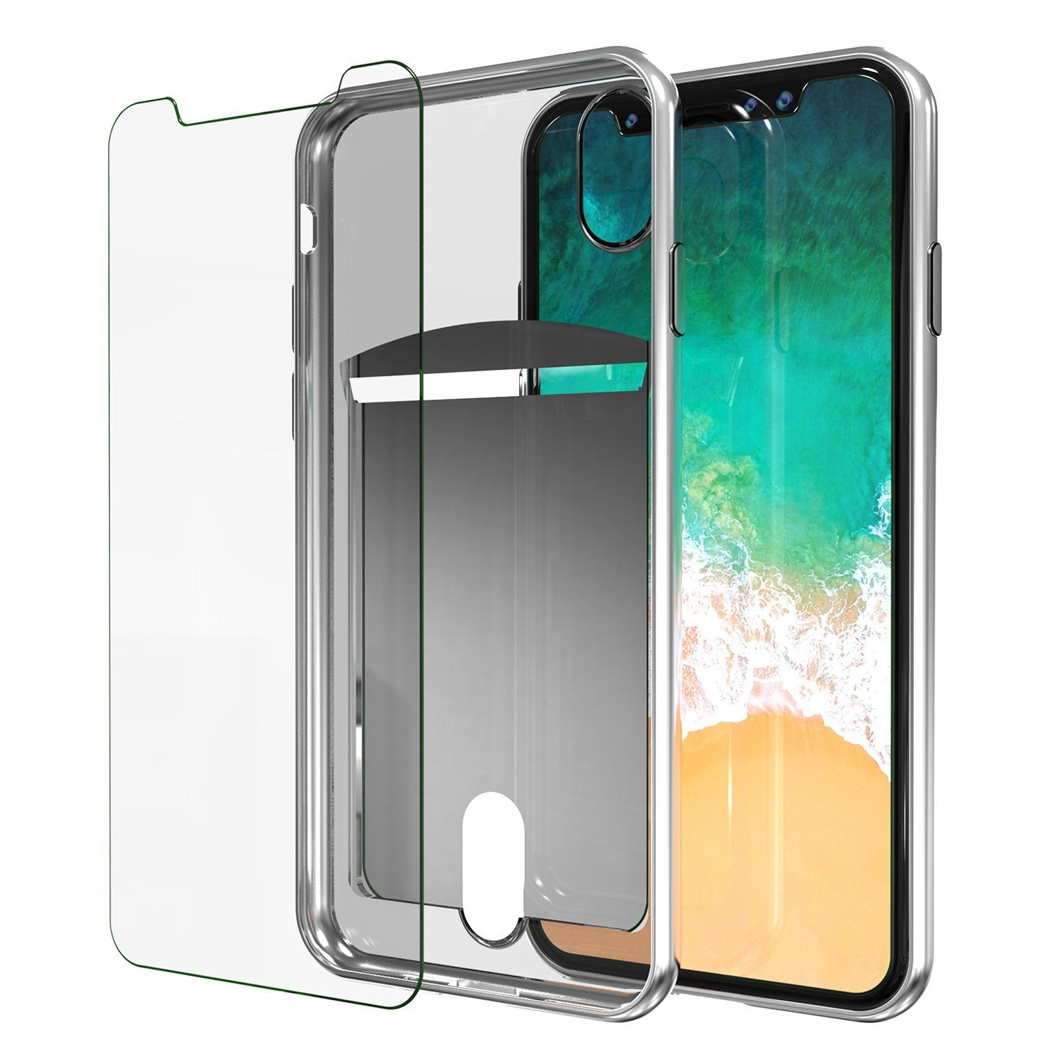 iPhone X Case, PUNKcase [LUCID Series] Slim Fit Protective Dual Layer Armor Cover [Silver]