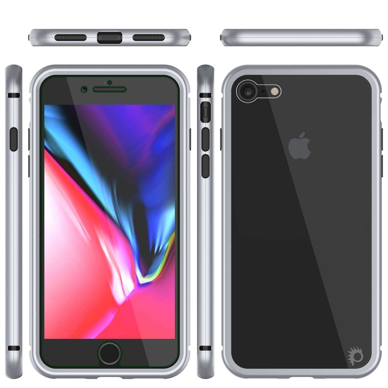 iPhone 7 Case, Punkcase Magnetix 2.0 Protective TPU Cover W/ Tempered Glass Screen Protector [Silver]