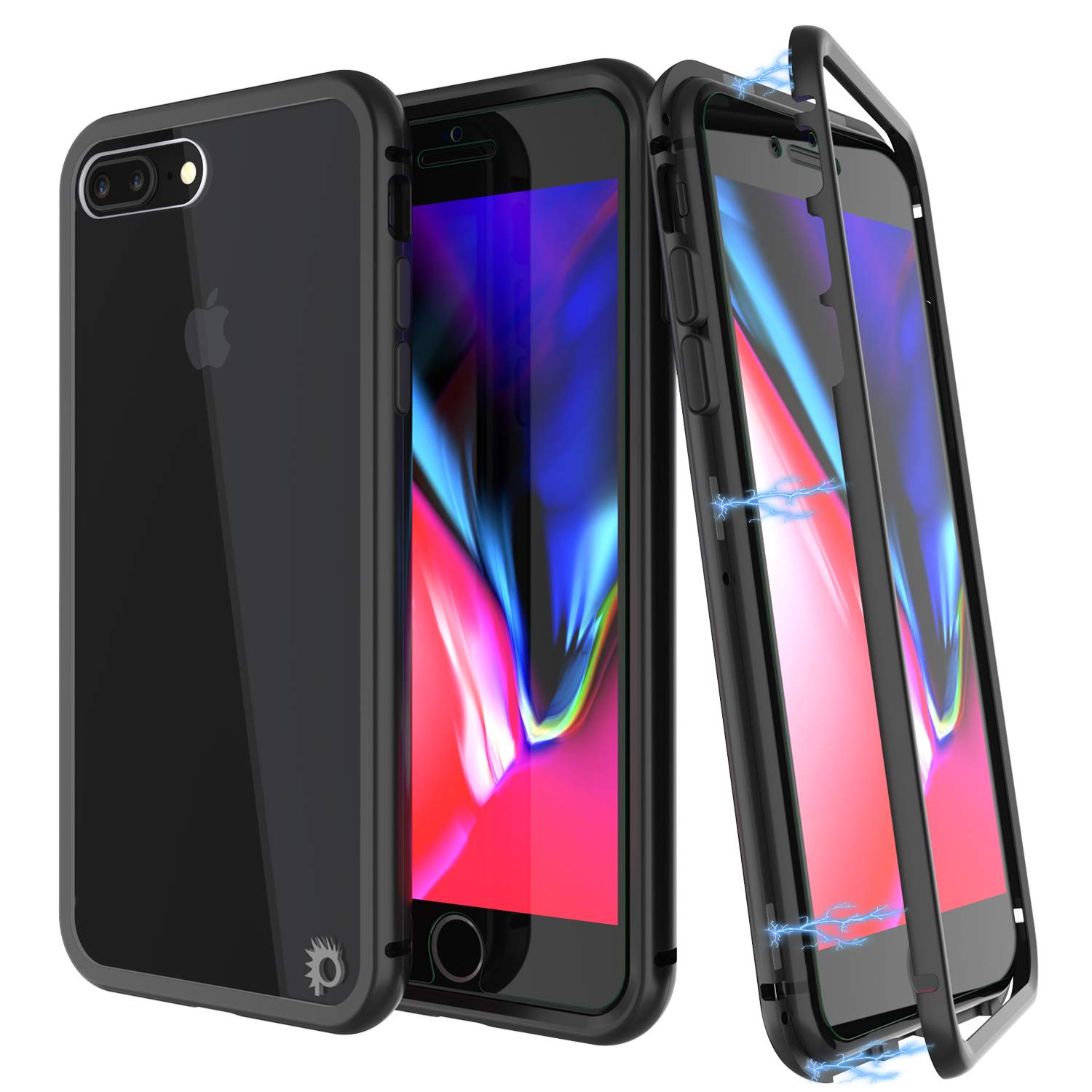 iPhone 8+ Plus Case, Punkcase Magnetix 2.0 Protective TPU Cover W/ Tempered Glass Screen Protector [Black]