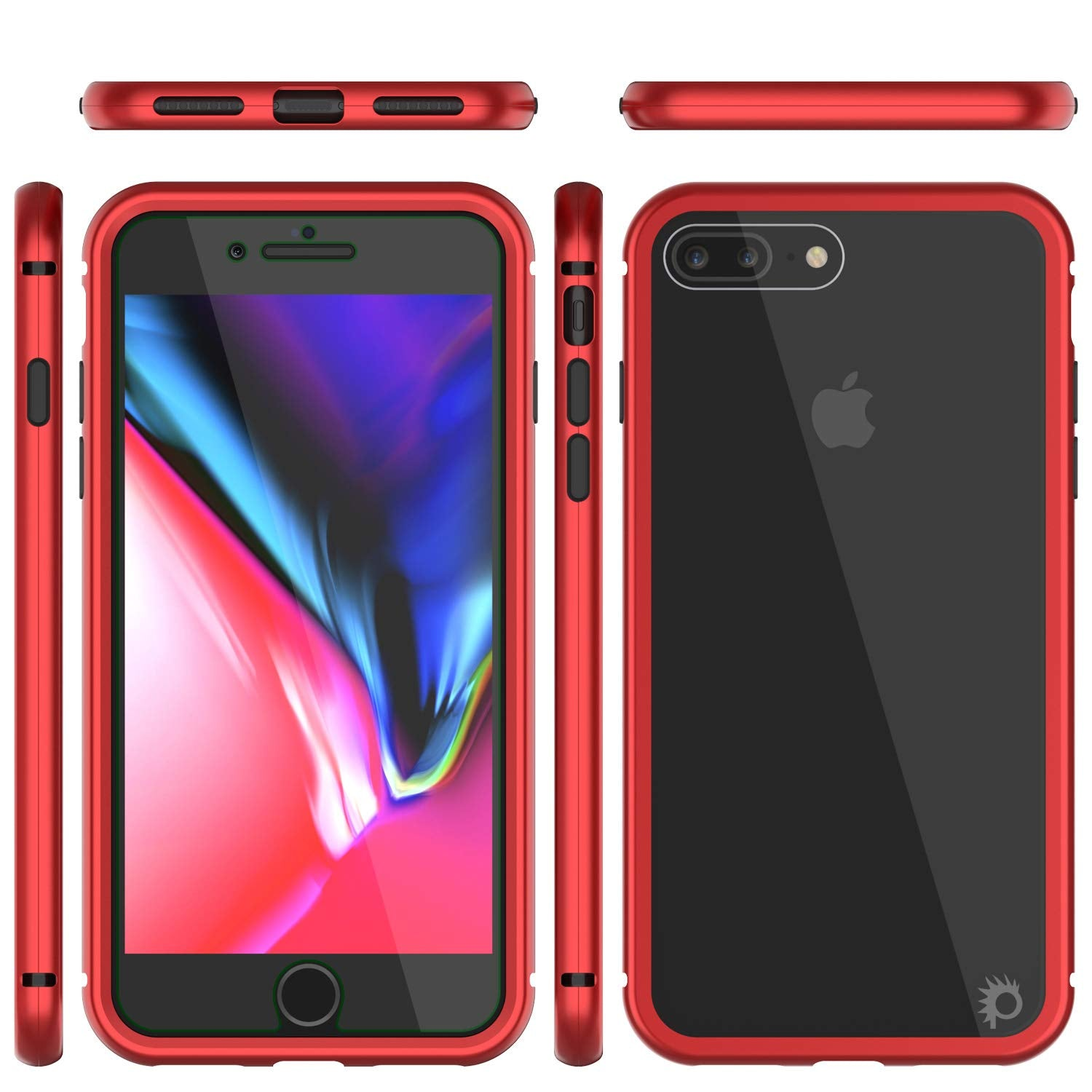 iPhone 8+ Plus Case, Punkcase Magnetix 2.0 Protective TPU Cover W/ Tempered Glass Screen Protector [Red]