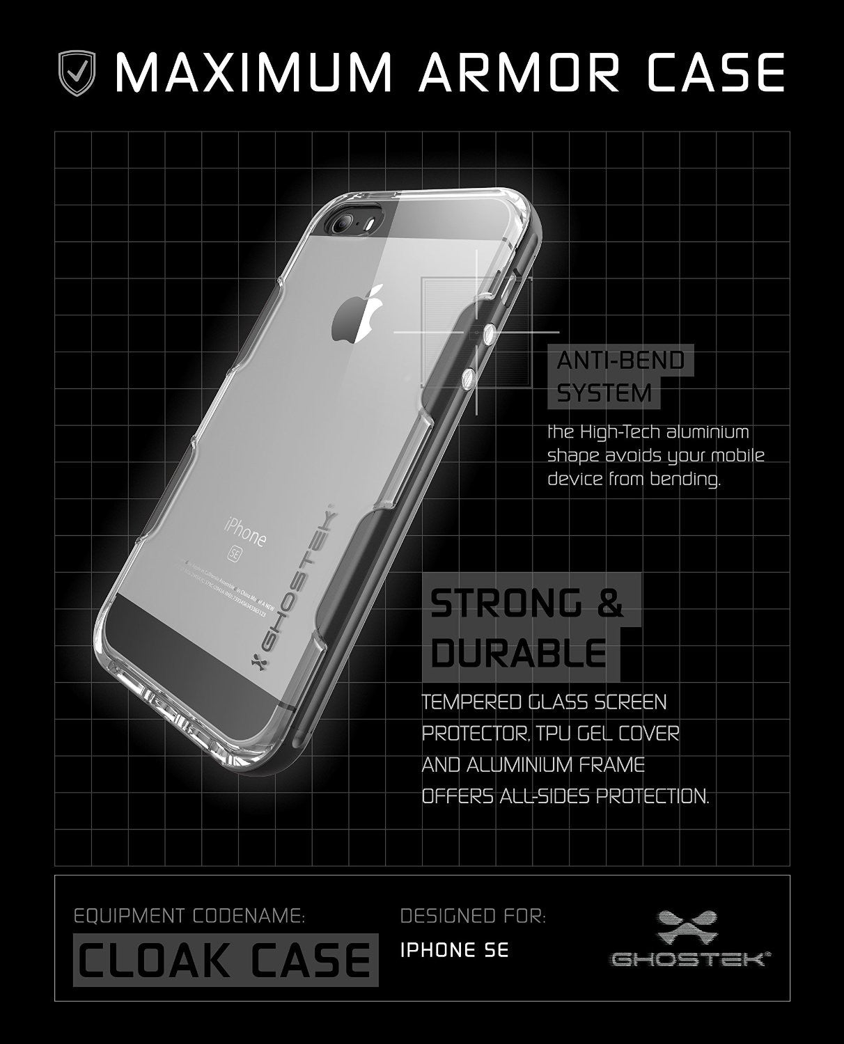 iPhone SE/5S/5 Case Ghostek® Cloak Space Grey Series | Tempered Glass | Lifetime Warranty Exchange
