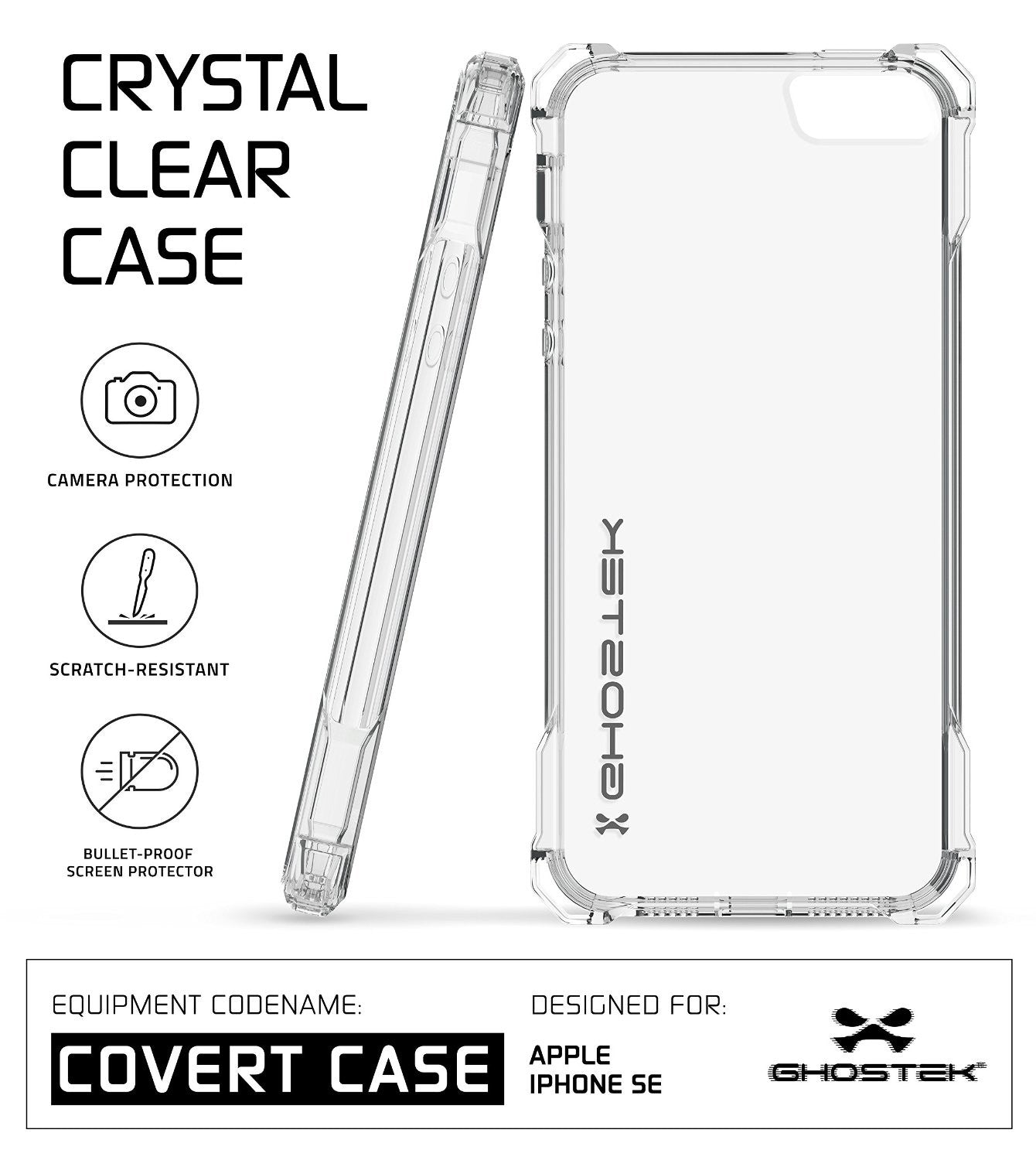 iPhone SE Case Ghostek® Covert Clear, Premium Impact Protective Armor | Lifetime Warranty Exchange