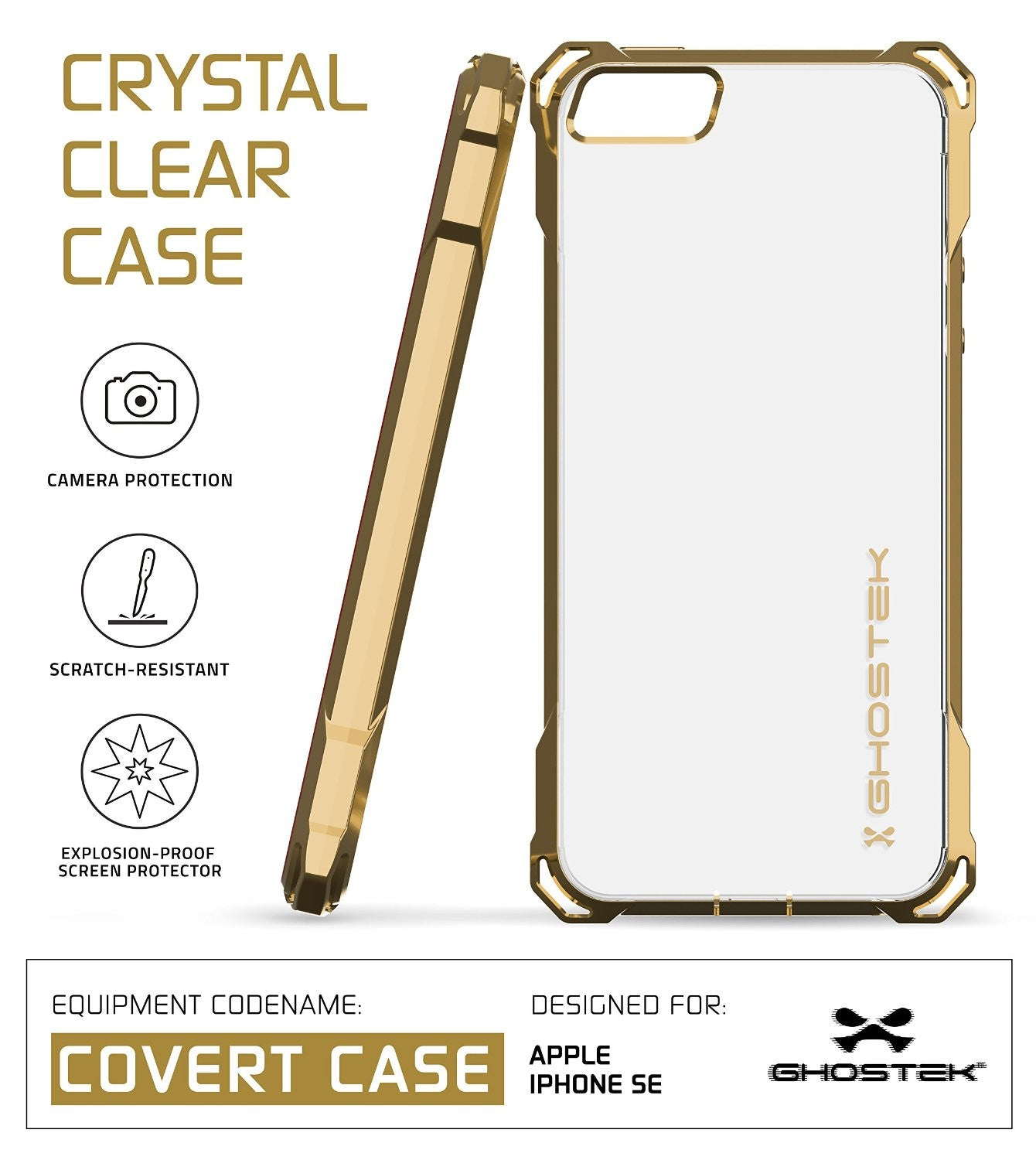 iPhone SE Case, Ghostek® Covert Gold, Premium Impact Protective Armor | Lifetime Warranty Exchange