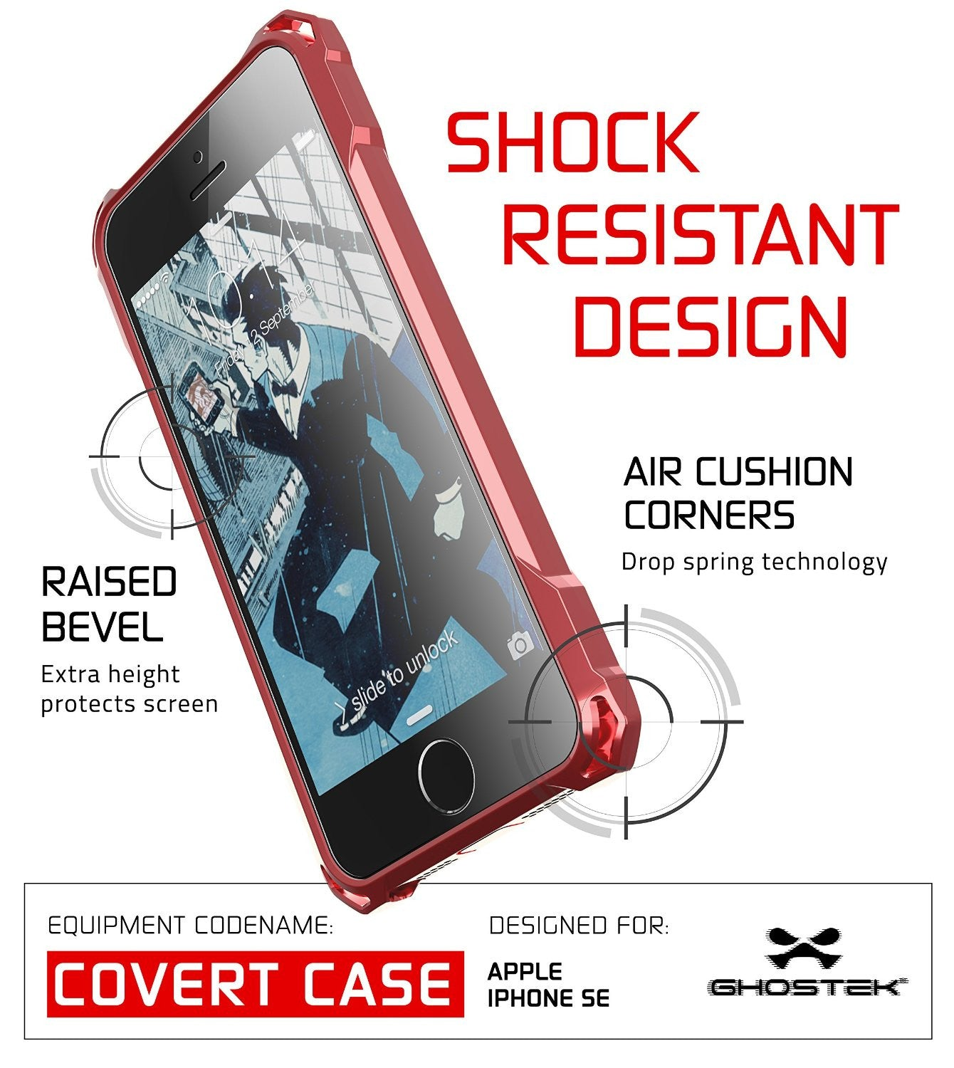 iPhone SE Case, Ghostek® Covert Red, Premium Impact Protective Armor | Lifetime Warranty Exchange
