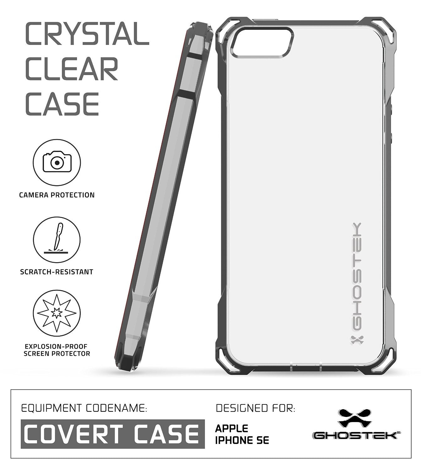 iPhone SE Case, Ghostek® Covert Space Grey, Premium Impact Protective | Lifetime Warranty Exchange