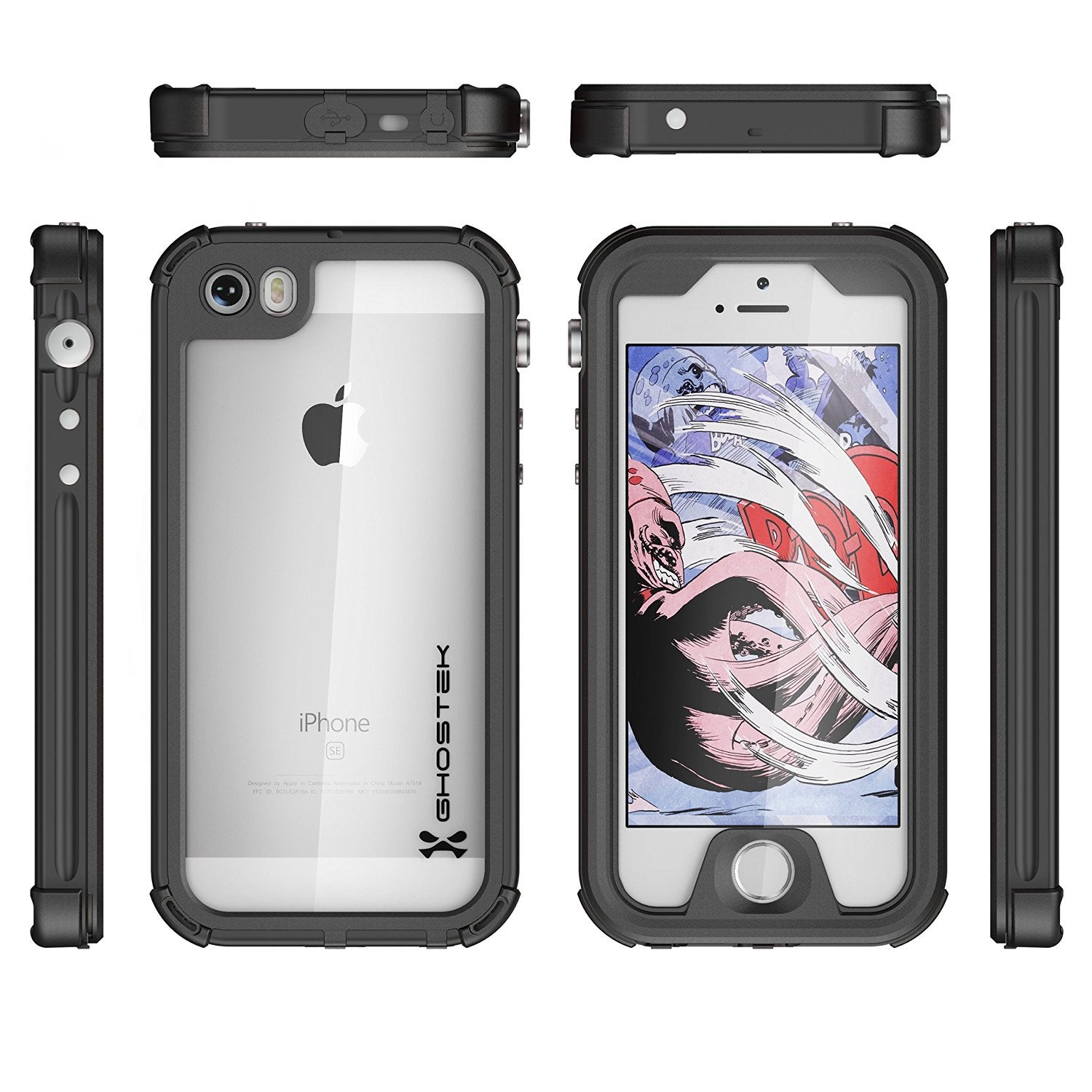 iPhone SE/5S/5 Waterproof Case, Ghostek® Atomic 3.0 Black Series | Underwater | Touch-ID