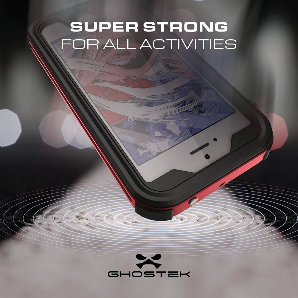 iPhone 7 Waterproof Case, Ghostek® Atomic 3.0 Red Series | Underwater | Touch-ID