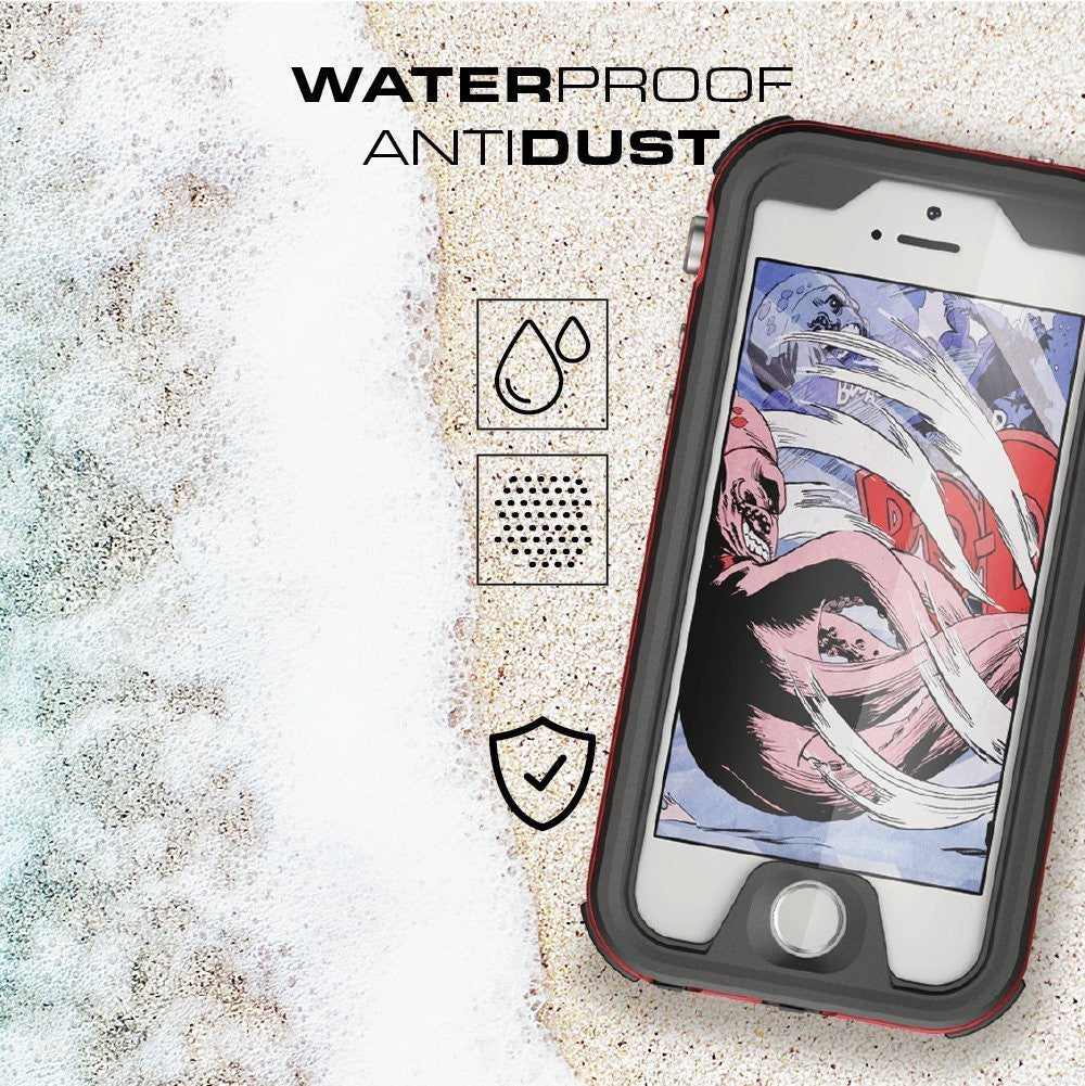 iPhone 7+ Plus Waterproof Case, Ghostek® Atomic 3.0 Red Series | Underwater | Touch-ID