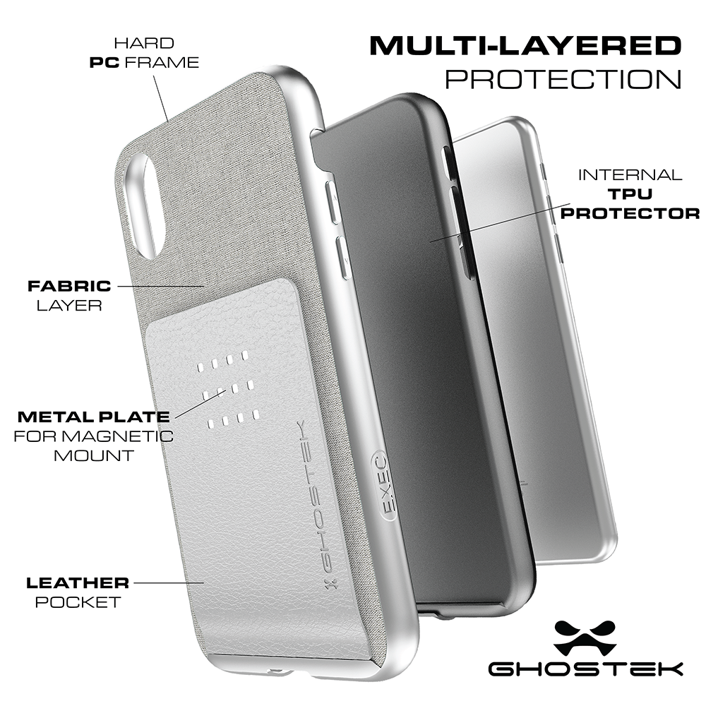 iPhone X Case, Ghostek Exec 2 Series for iPhone X / iPhone Pro Protective Wallet Case [Silver]