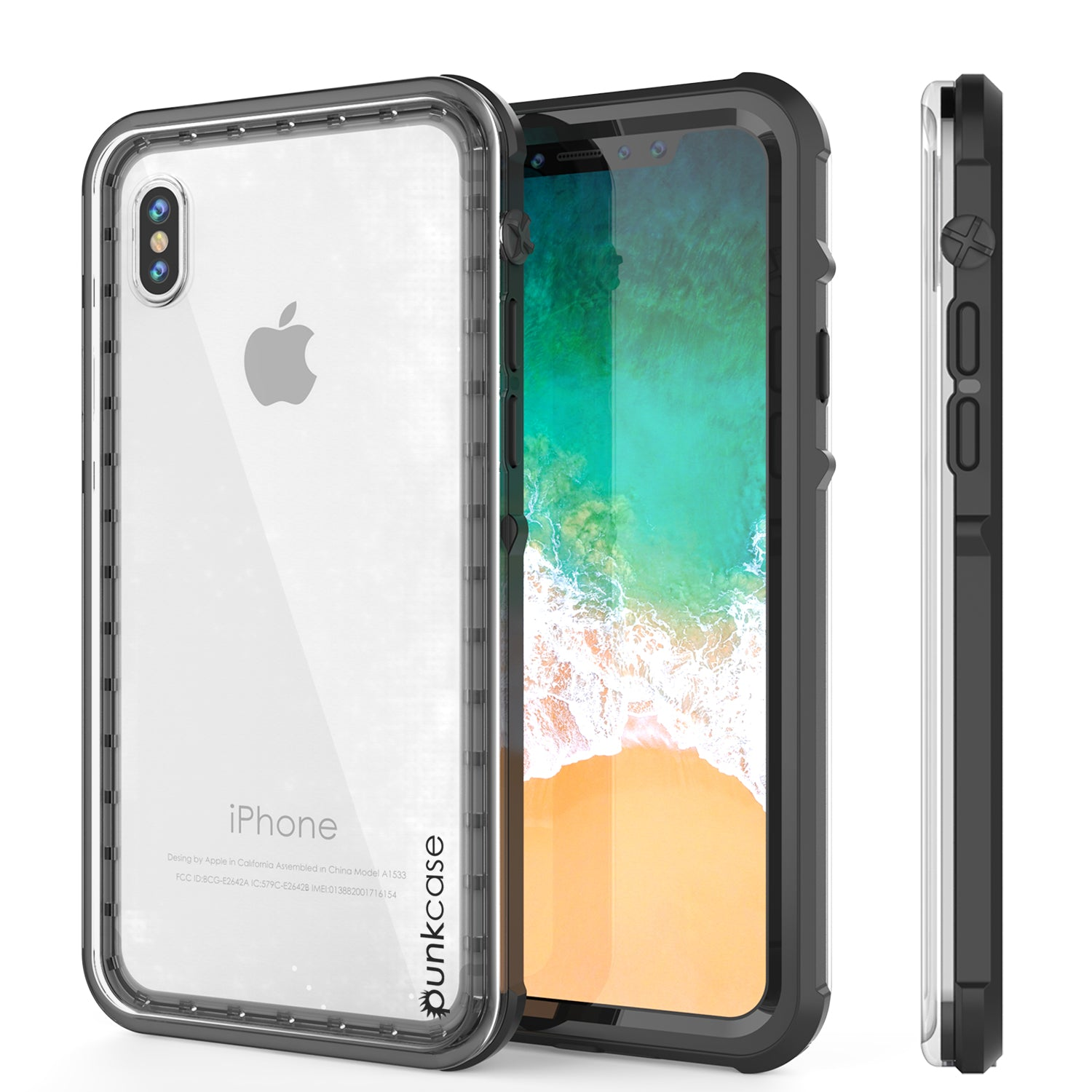 iPhone X Case, PUNKCase [CRYSTAL SERIES] Protective IP68 Certified Cover [BLACK]