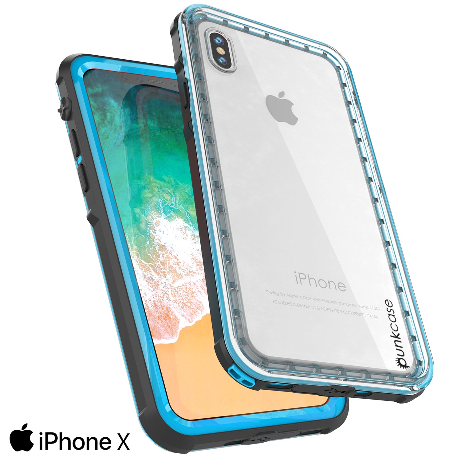iPhone X Case, PUNKCase [CRYSTAL SERIES] Protective IP68 Certified Cover [Light Blue]