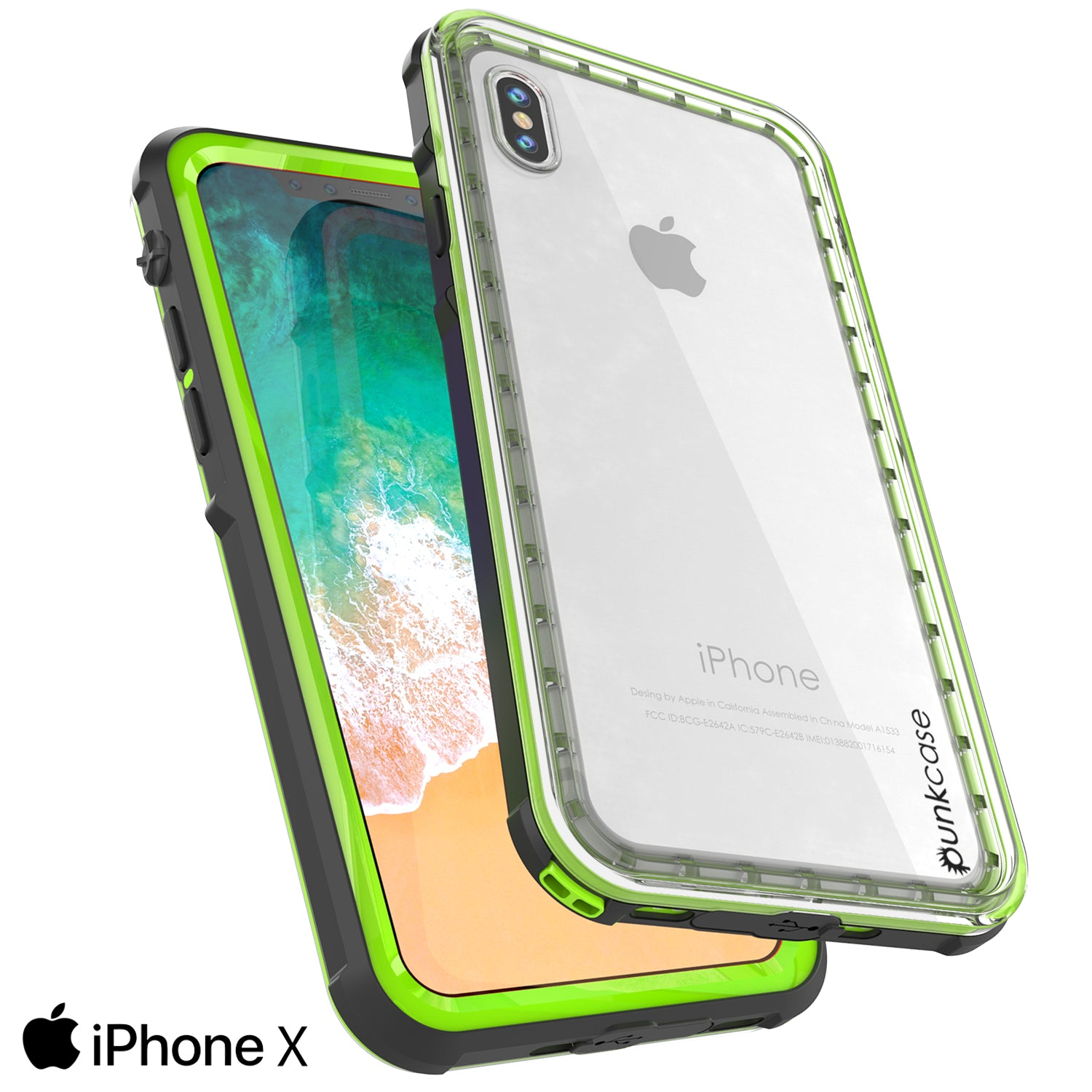 iPhone X Case, PUNKCase [CRYSTAL SERIES] Protective IP68 Certified Cover [Light Green]