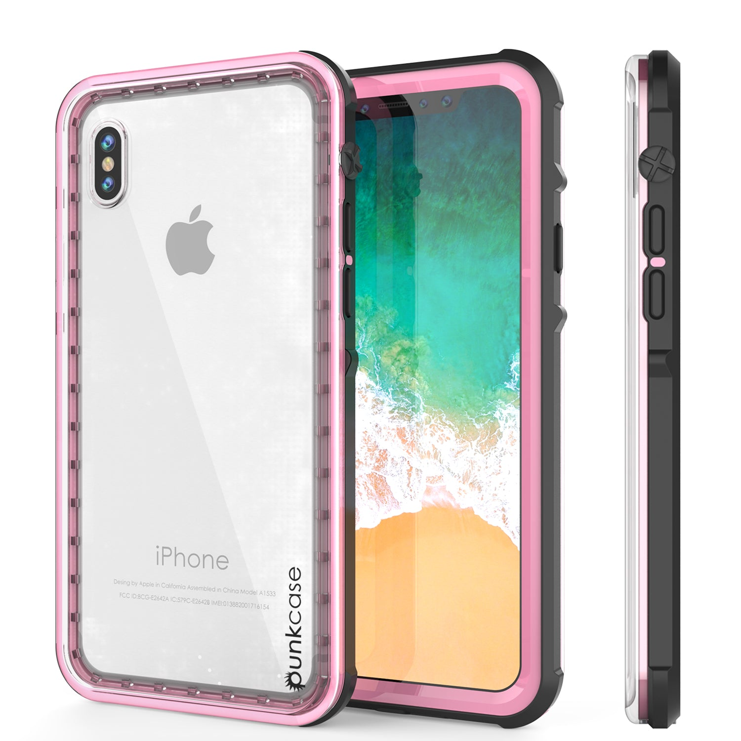 iPhone X Case, PUNKCase [CRYSTAL SERIES] Protective IP68 Certified Cover [Pink]