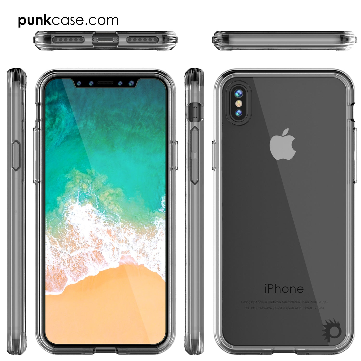 iPhone X Case, PUNKcase [LUCID 2.0 Series] [Slim Fit] Armor Cover W/Integrated Anti-Shock System [Clear]