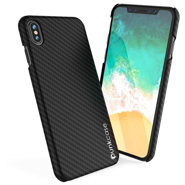 iPhone X Case, Punkcase CarbonShield, Heavy Duty & Ultra Thin 2 Piece Dual Layer [shockproof]