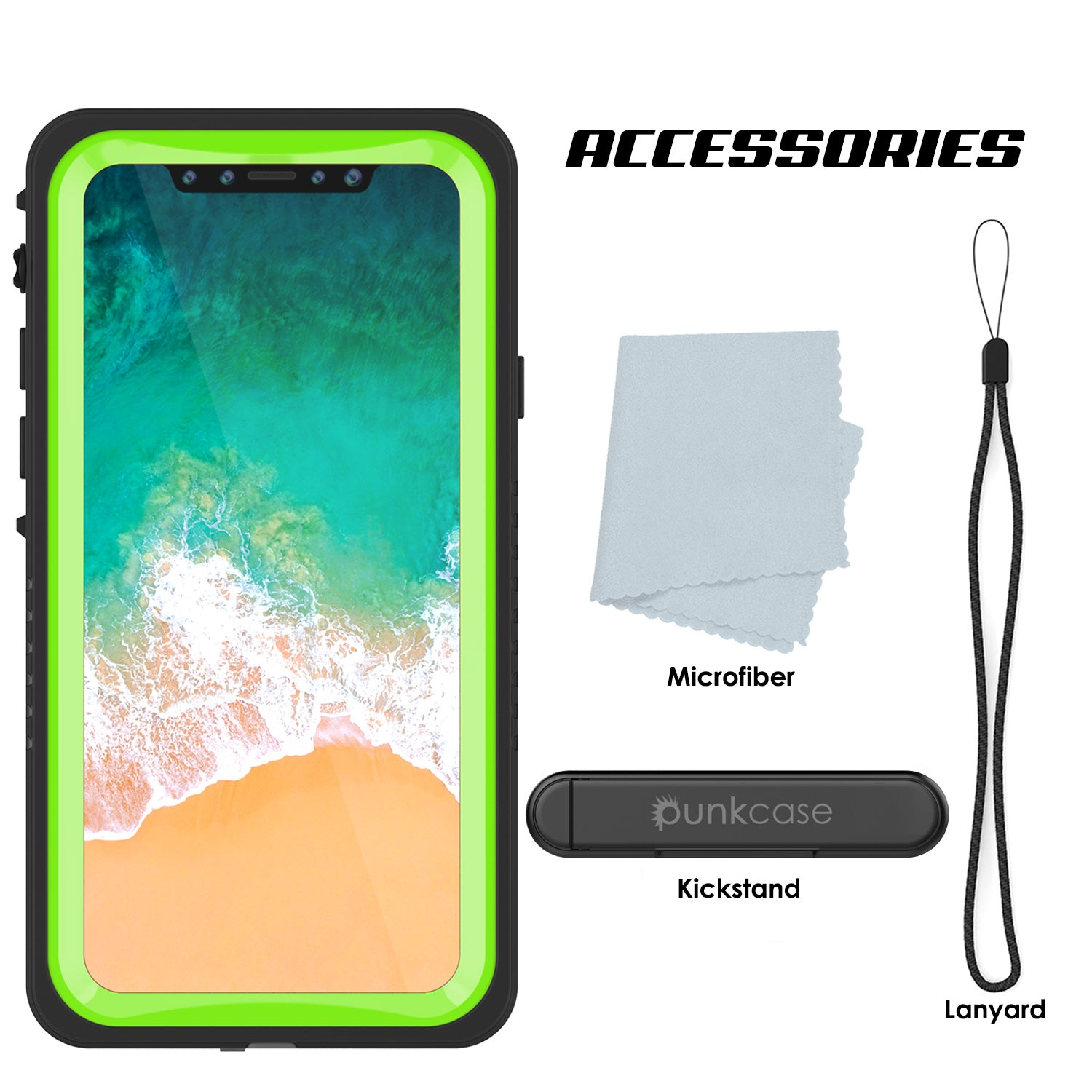iPhone X Case, Punkcase [Extreme Series] [Slim Fit] [IP68 Certified] [Light Green]