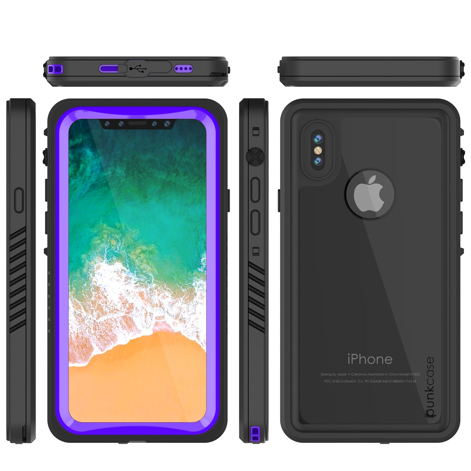iPhone X Case, Punkcase [Extreme Series] [Slim Fit] [IP68 Certified] [Purple]