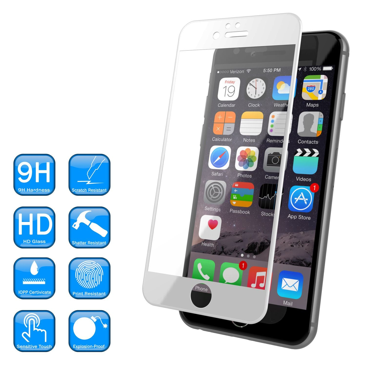 iPhone 6+/6s+ Plus White Screen Protector, Punkcase SHIELD Tempered Glass Protector 0.33mm Thick 9H