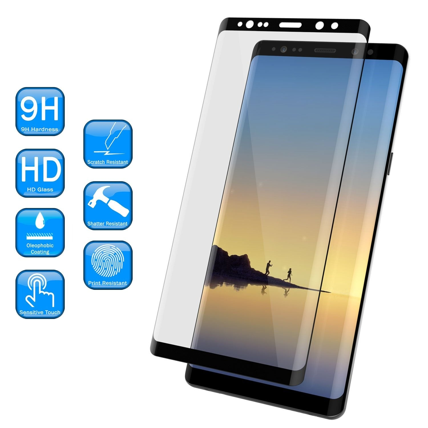 Galaxy Note 8  Black Punkcase Glass SHIELD Tempered Glass Screen Protector 0.33mm Thick 9H Glass
