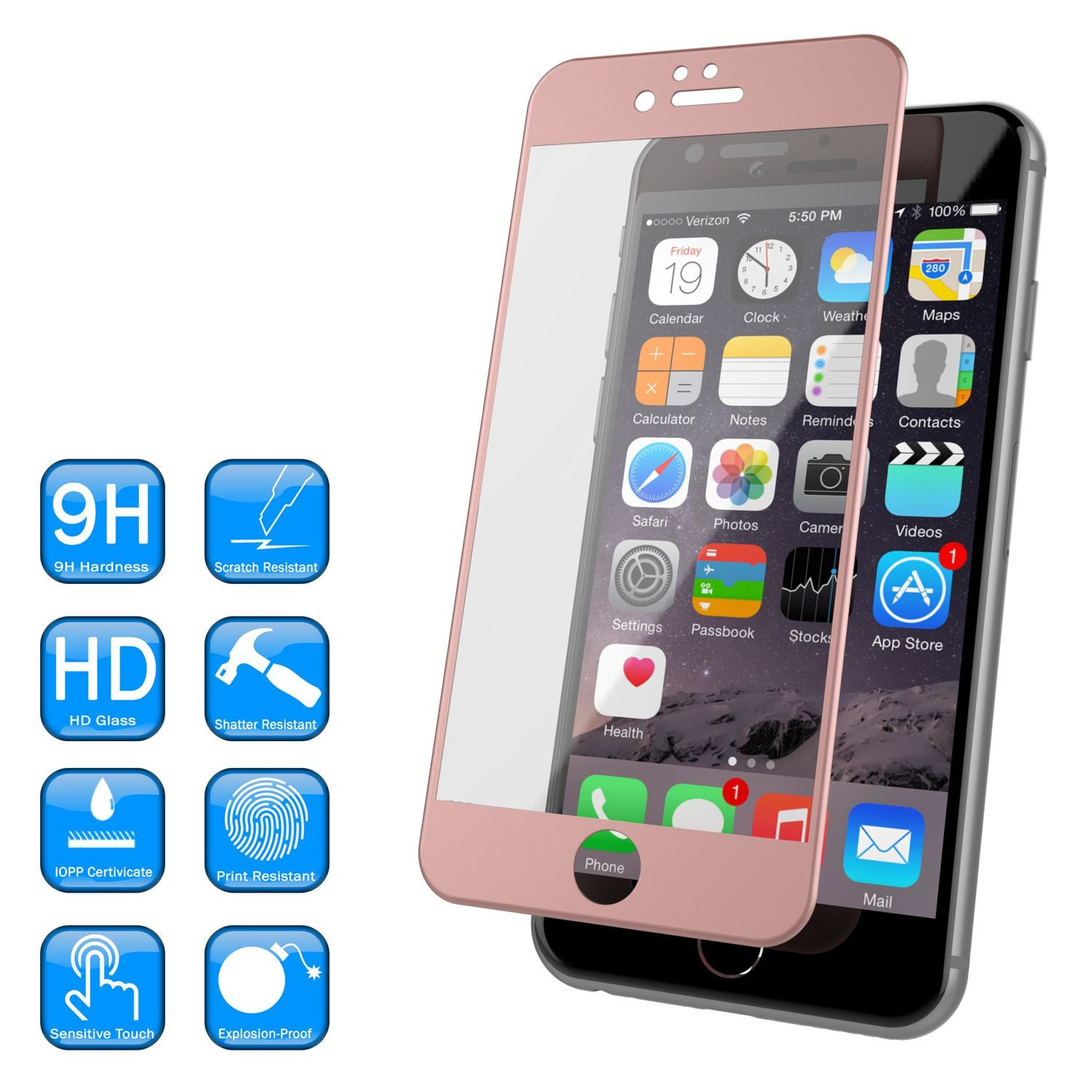 iPhone 6+/6s+ Plus Rose Gold Screen Protector, Punkcase SHIELD Tempered Glass 0.33mm Thick 9H
