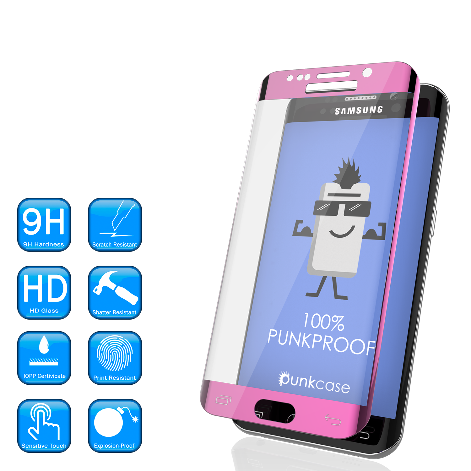 Galaxy S6 Edge Pink Tempered Glass Screen Protector, PUNKSHIELD \0.33mm Thick 9H Glass