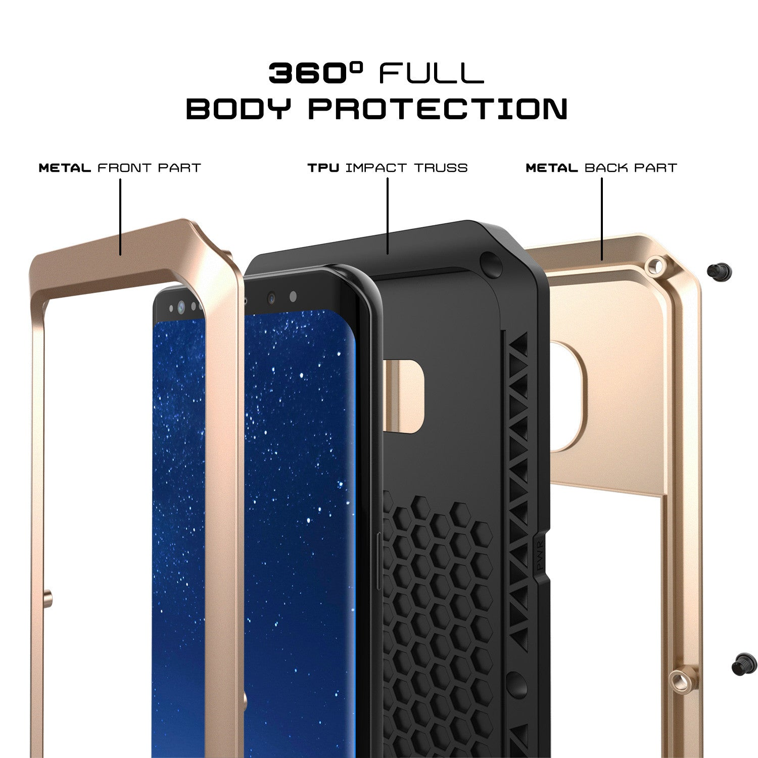 Galaxy S8+ Plus  Case, PUNKcase Metallic Gold Shockproof  Slim Metal Armor Case