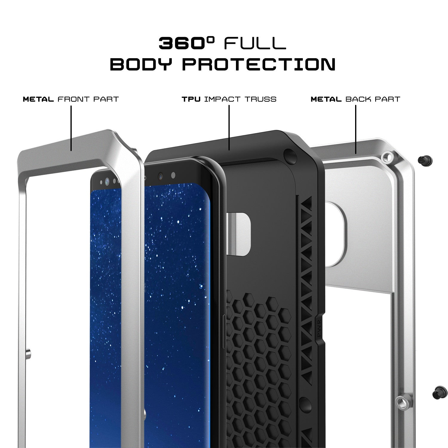 Galaxy S8+ Plus  Case, PUNKcase Metallic Silver Shockproof  Slim Metal Armor Case