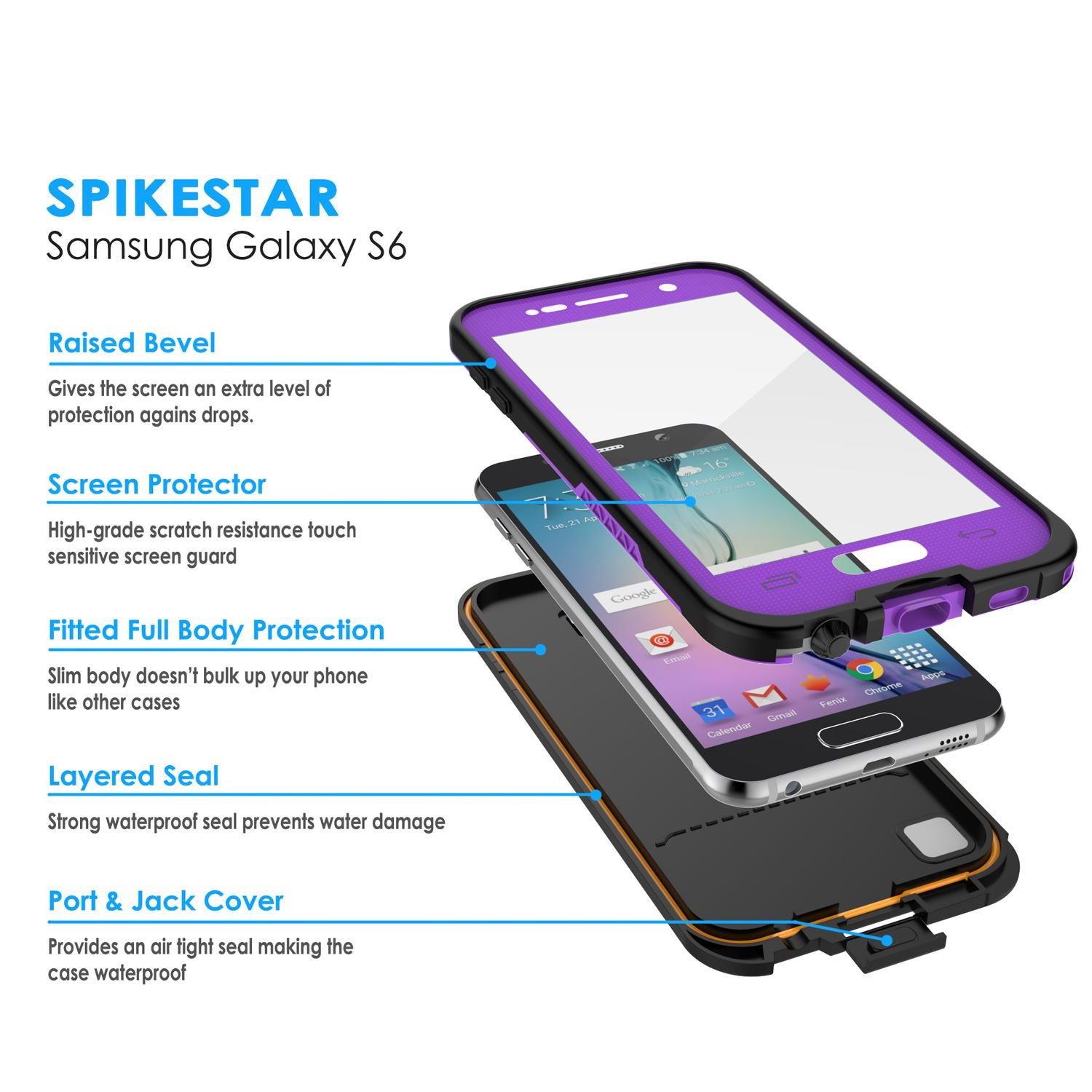 Galaxy S6 Waterproof Case, PunkCase SpikeStar Purple Water/Shock/Dirt/Snow Proof | Lifetime Warranty