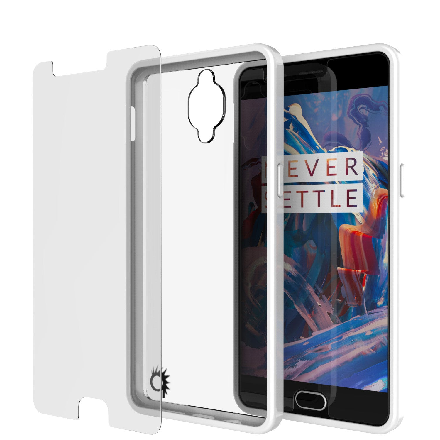 OnePlus 3 Case Punkcase® LUCID 2.0 White Series w/ SHIELD GLASS Lifetime Warranty Exchange