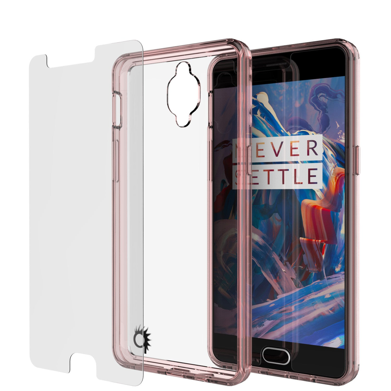 OnePlus 3 Case Punkcase® LUCID 2.0 Crystal Pink Series w/ SHIELD GLASS Lifetime Warranty Exchange