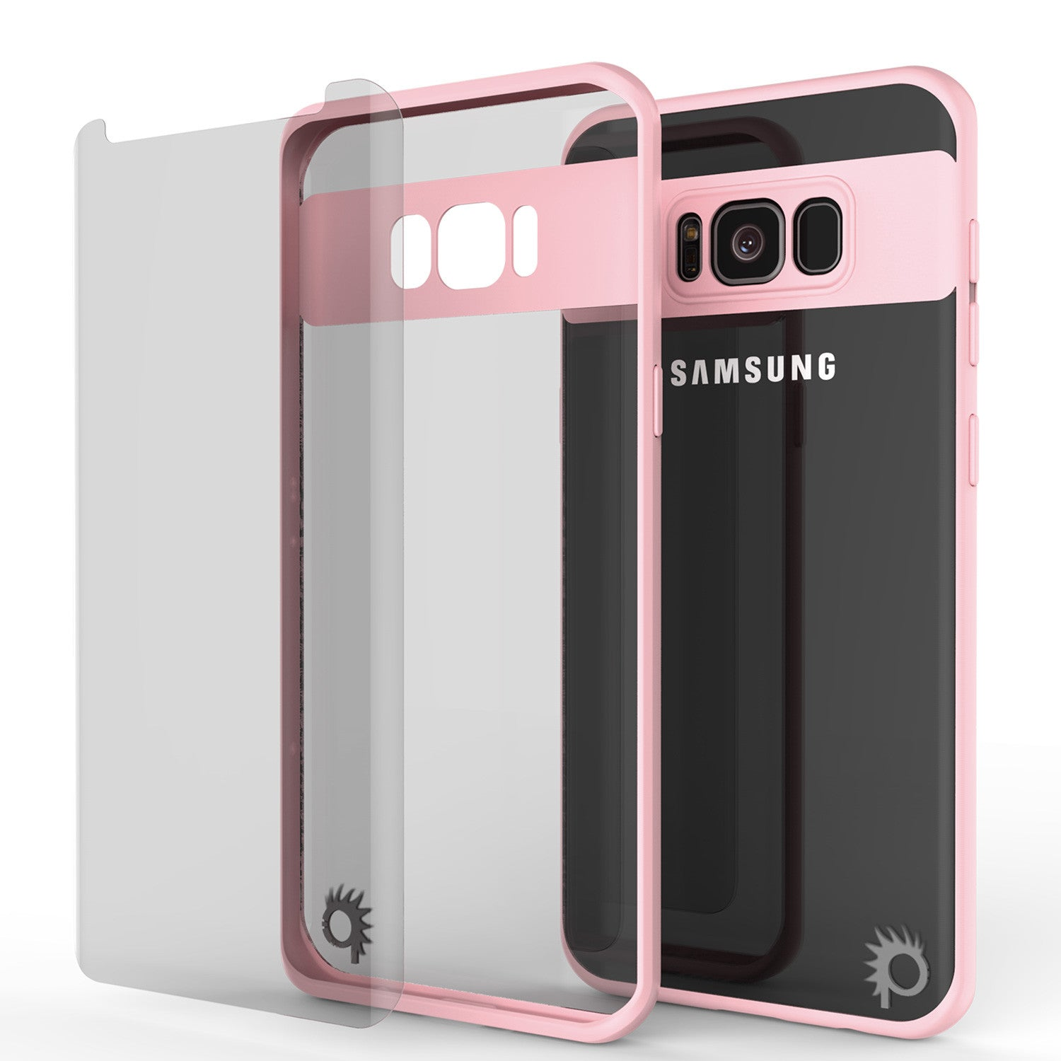 Galaxy S8 Case, Punkcase [MASK Series] [PINK] Full Body Hybrid Dual Layer TPU Cover W/ Protective PUNKSHIELD Screen Protector