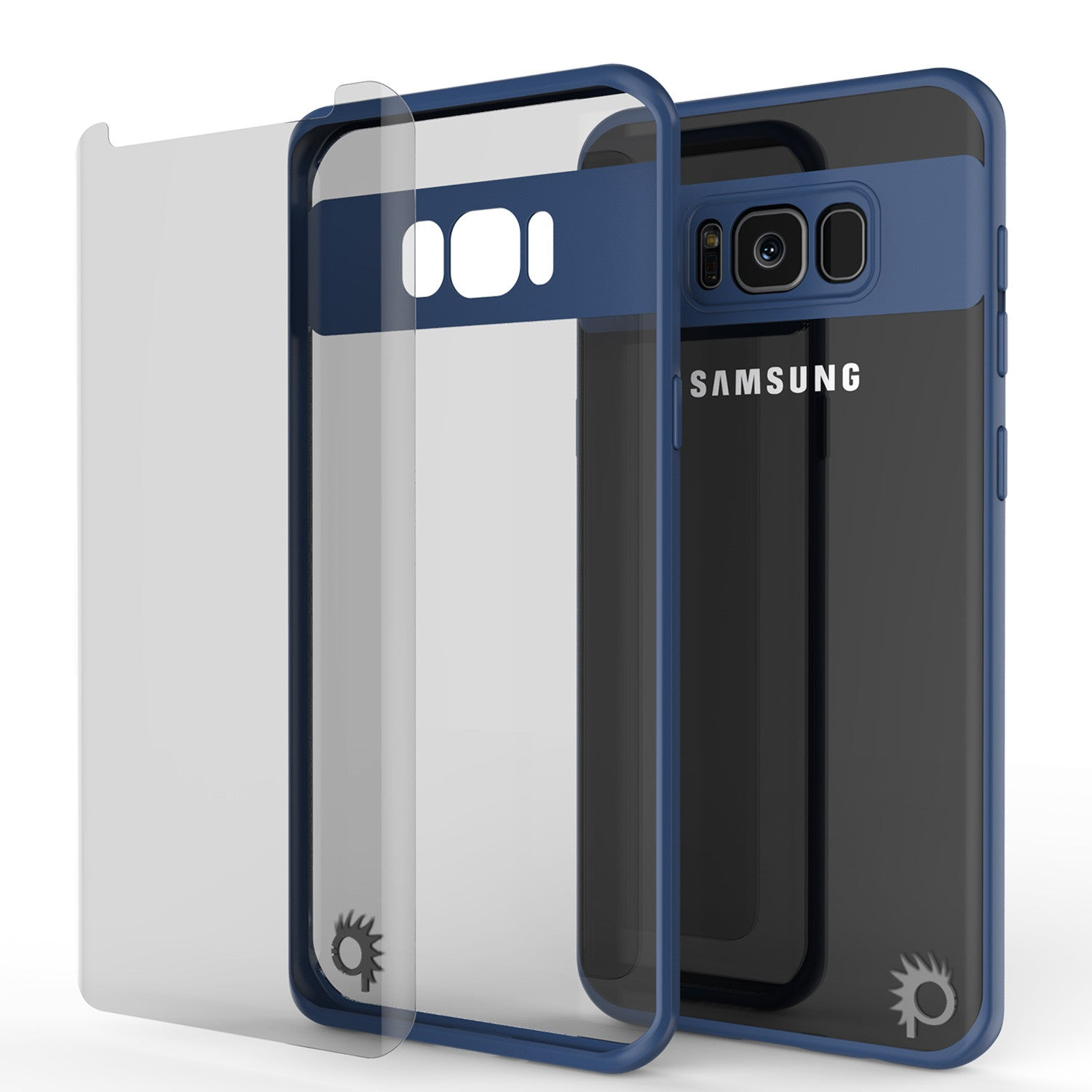 Galaxy S8 Plus Case, Punkcase [MASK Series] [NAVY] Full Body Hybrid Dual Layer TPU Cover W/ Protective PUNKSHIELD Screen Protector