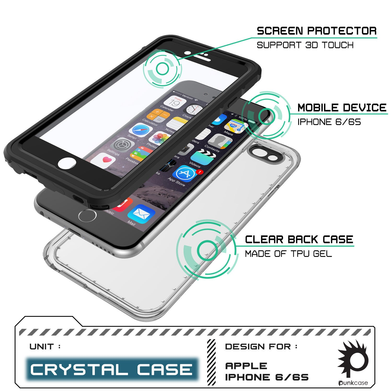 iPhone 6+/6S+ Plus Waterproof Case, PUNKcase CRYSTAL Black W/ Attached Screen Protector | Warranty