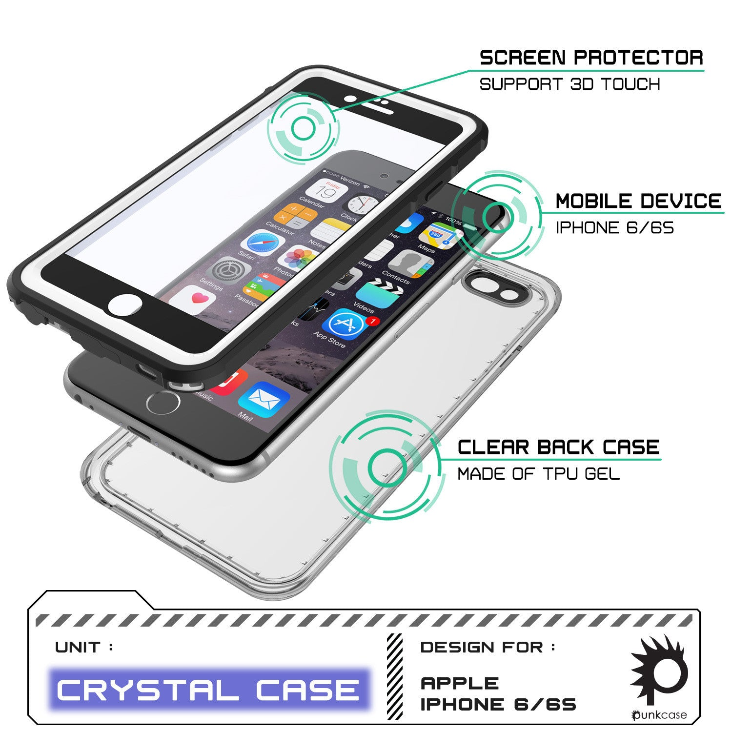 iPhone 6+/6S+ Plus Waterproof Case, PUNKcase CRYSTAL White W/ Attached Screen Protector | Warranty