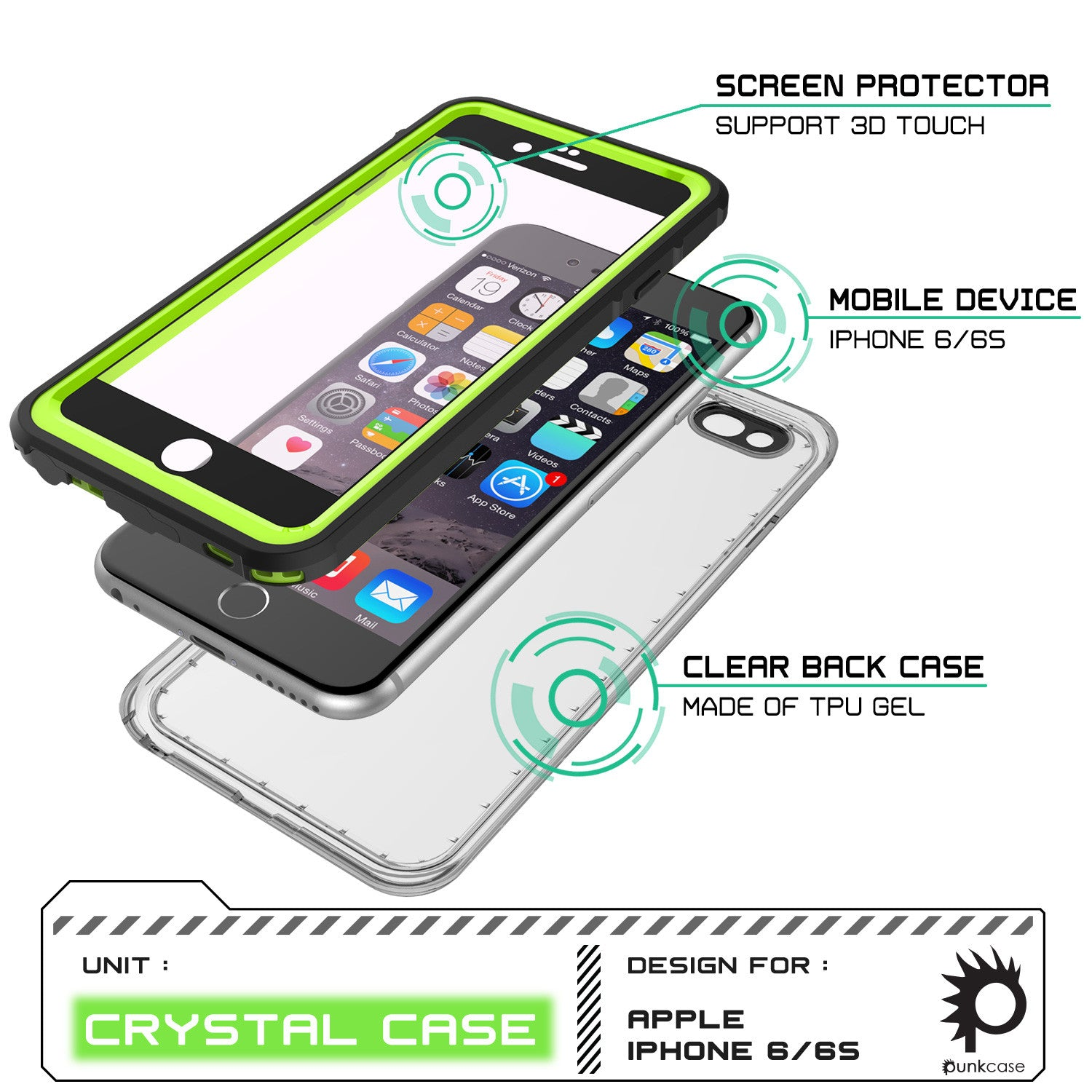 iPhone 6/6S Waterproof Case, PUNKcase CRYSTAL Light Green  W/ Attached Screen Protector  | Warranty
