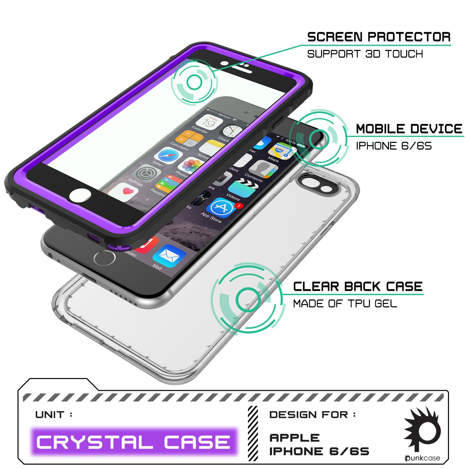 iPhone 6/6S Waterproof Case, PUNKcase CRYSTAL Purple W/ Attached Screen Protector  | Warranty